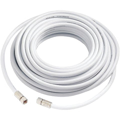 50' RG-6 Coaxial Cable with F-Male Connector (White Fifty Feet Coax Cables)