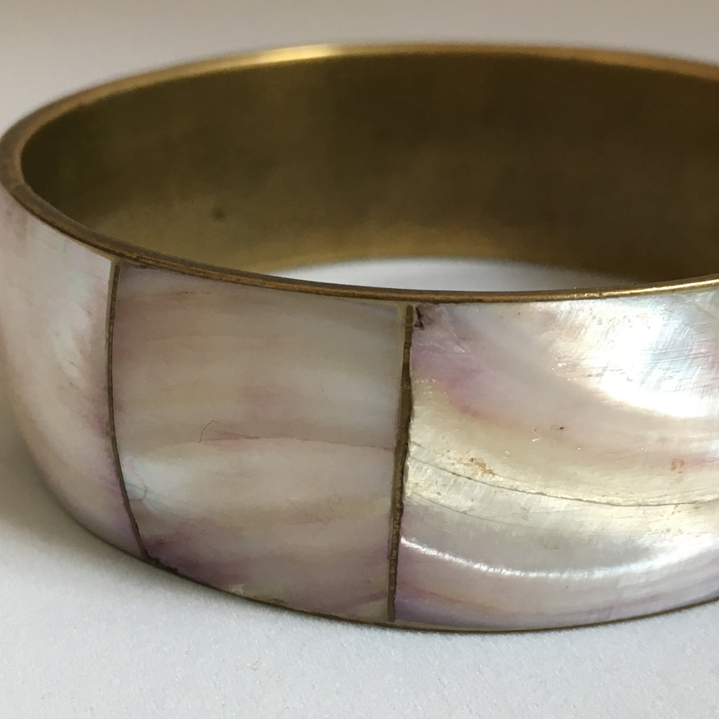 La Rose | Mother of Pearl + Brass Bangle