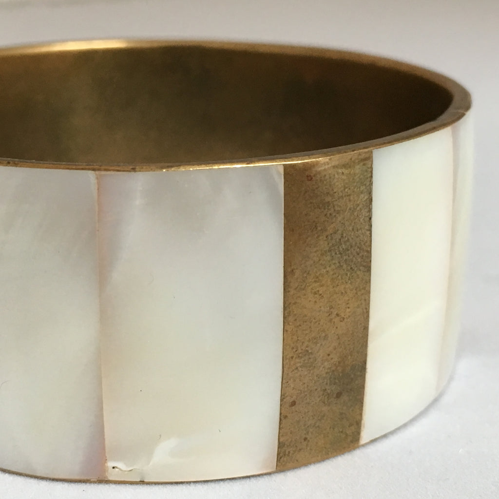 WHITE + GOLD | Pearl Statement Bangle