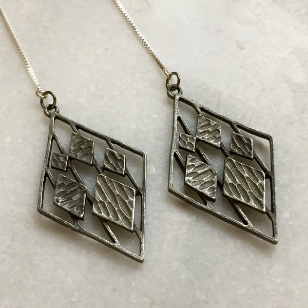 Scandinavian Mid Century | Pewter Threader Earrings