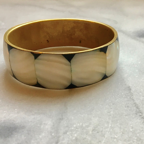 Octagon Pearl Tile | Brass Bangle