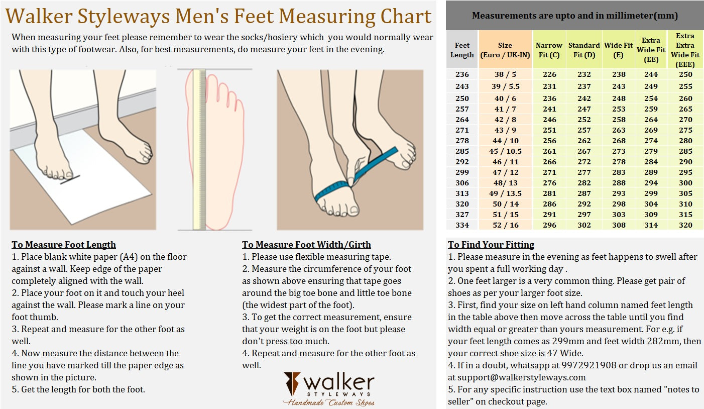 Walker Styleways Men's Feet Measurement Guide for Custom Made Shoes