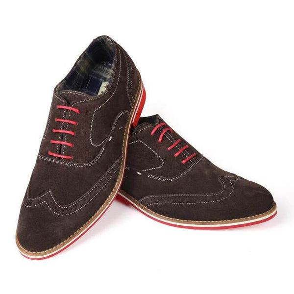 A front view of men's 3e wide casual oxford shoes made with brown suede leather