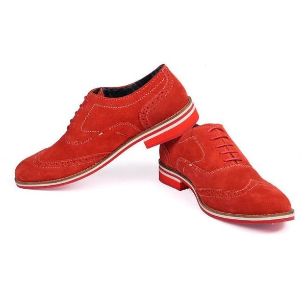 A side view of pair of men's brogue casual shoes for wide feet made with red suede leather