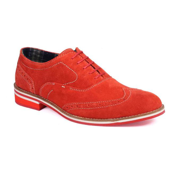 A side view of men's brogue casual shoes for wide feet made with red suede leather