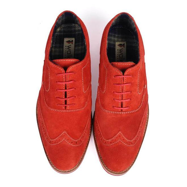 A top view of pair of men's brogue casual shoes for wide feet made with red suede leather