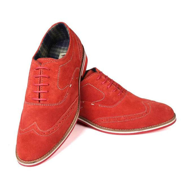 A front view of pair of men's brogue casual shoes for wide feet made with red suede leather