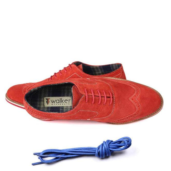 A top view of men's brogue casual shoes for wide feet made with red suede leather