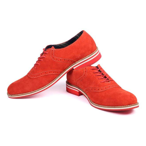 A side view of pair of men's oxford casual shoes for wide feet made with red suede leather