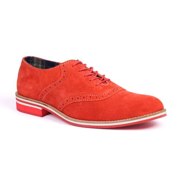 A side view of men's oxford casual shoes for wide feet made with red suede leather