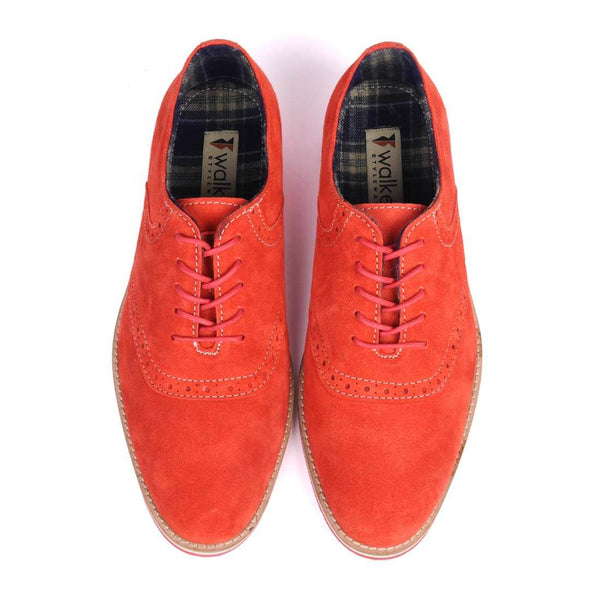 A top view of pair of men's oxford casual shoes for wide feet made with red suede leather