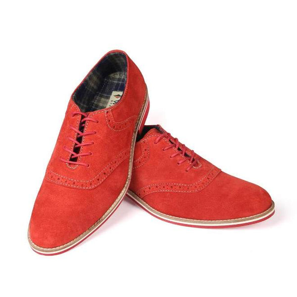 A front view of pair of men's oxford casual shoes for wide feet made with red suede leather