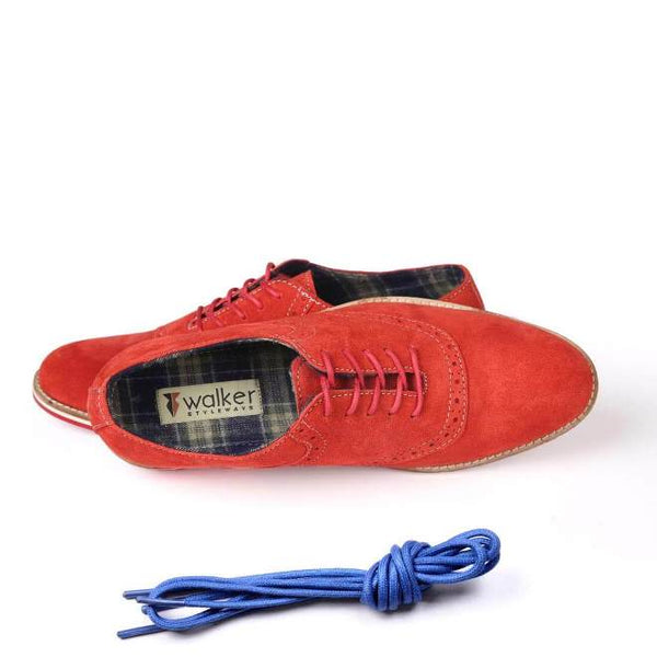 A top view of men's oxford casual shoes for wide feet made with red suede leather