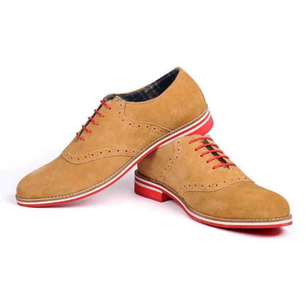 A side view of pair of men's casual shoes for wide feet made with tan suede leather
