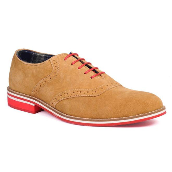 A side view of men's casual shoes for wide feet made with tan suede leather