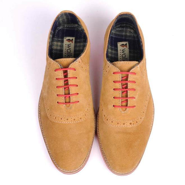 A top view of pair of men's casual shoes for wide feet made with tan suede leather