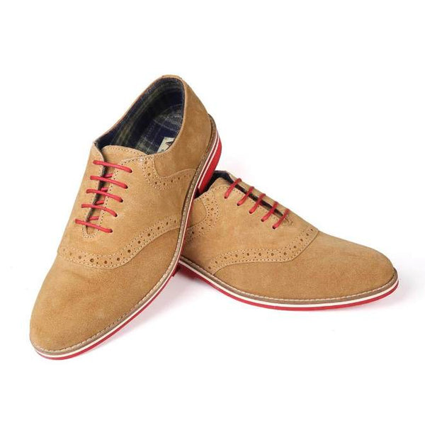 A front view of pair of men's casual shoes for wide feet made with tan suede leather