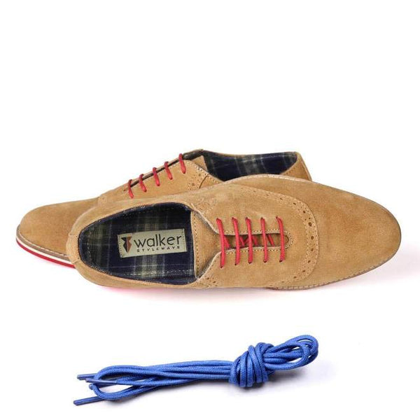 A top view of men's casual shoes for wide feet made with tan suede leather