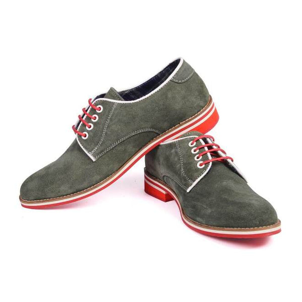 A side view of pair of men's derby casual shoes for broad feet made with green suede leather