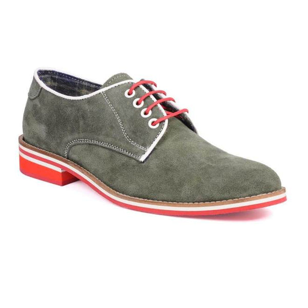 A side view of men's derby casual shoes for broad feet made with green suede leather