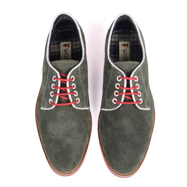 A top view of pair of men's derby casual shoes for broad feet made with green suede leather