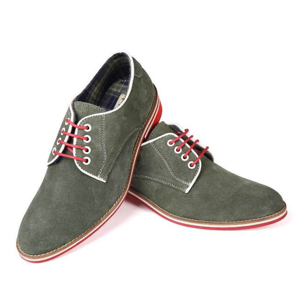 A front view of pair of men's derby casual shoes for broad feet made with green suede leather