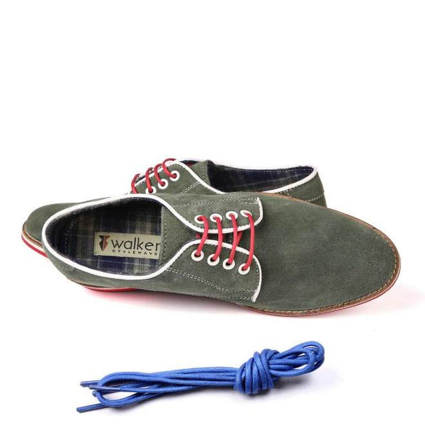 A top view of men's derby casual shoes for broad feet made with green suede leather