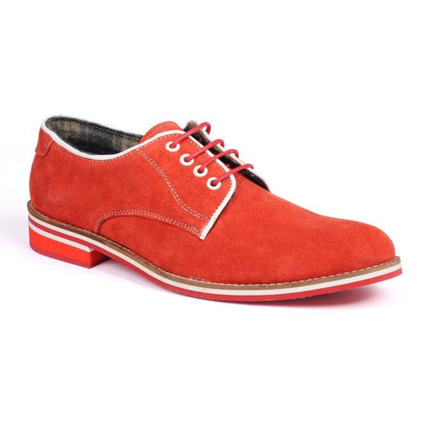 A side view of men's derby casual shoes for wide feet made with red suede leather