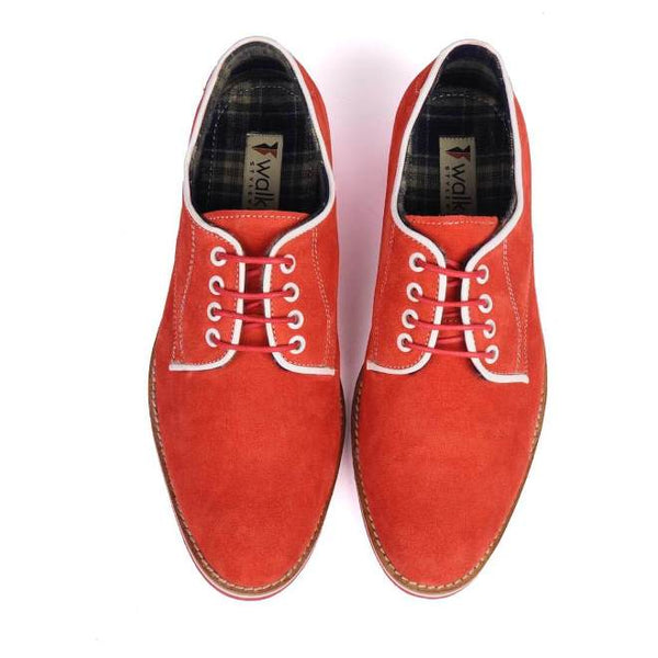 A top view of pair of men's derby casual shoes for wide feet made with red suede leather