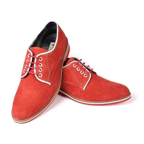 A front view of pair of men's derby casual shoes for wide feet made with red suede leather