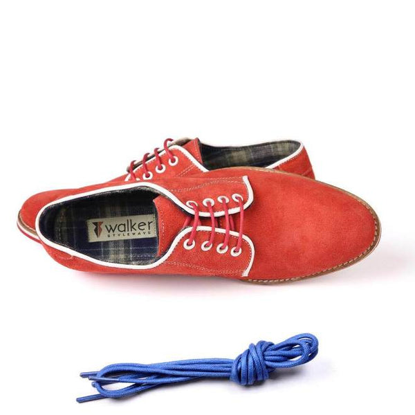 A top view of men's derby casual shoes for wide feet made with red suede leather