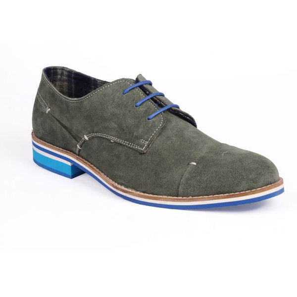 A side view of men's derby casual shoes for wide feet made with green suede leather