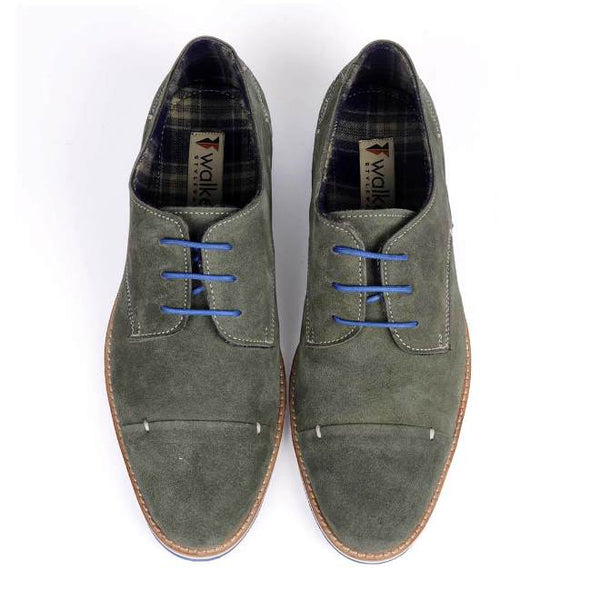 A top view of pair of men's derby casual shoes for wide feet made with green suede leather
