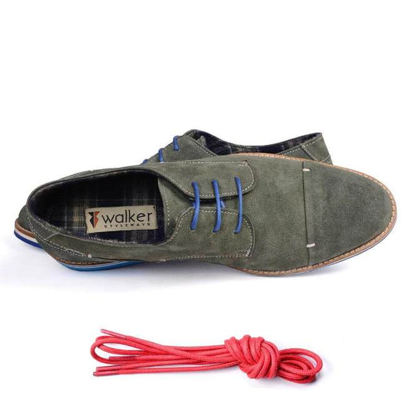 A top view of men's derby casual shoes for wide feet made with green suede leather