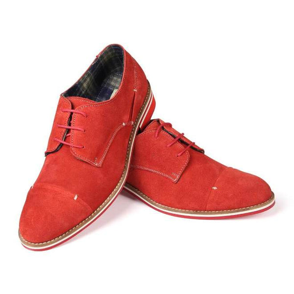 A front view of pair of men's derby casual shoes for broad feet made with red suede leather