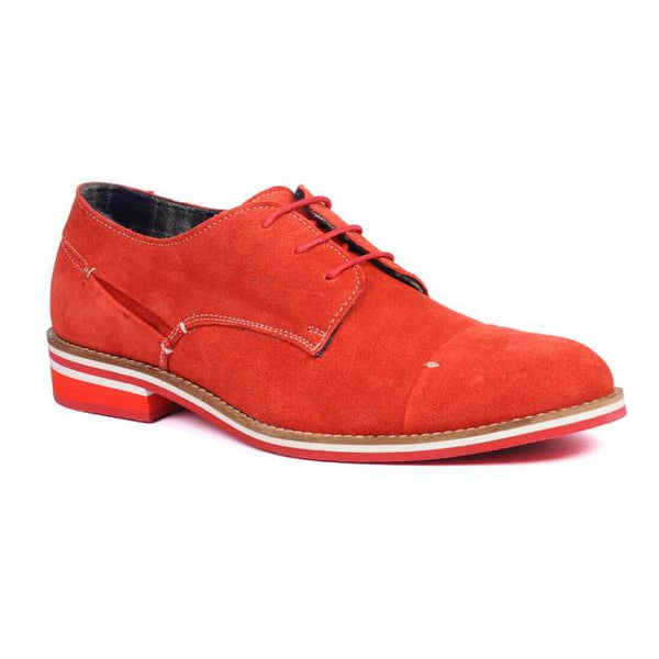 A side view of men's derby casual shoes for broad feet made with red suede leather