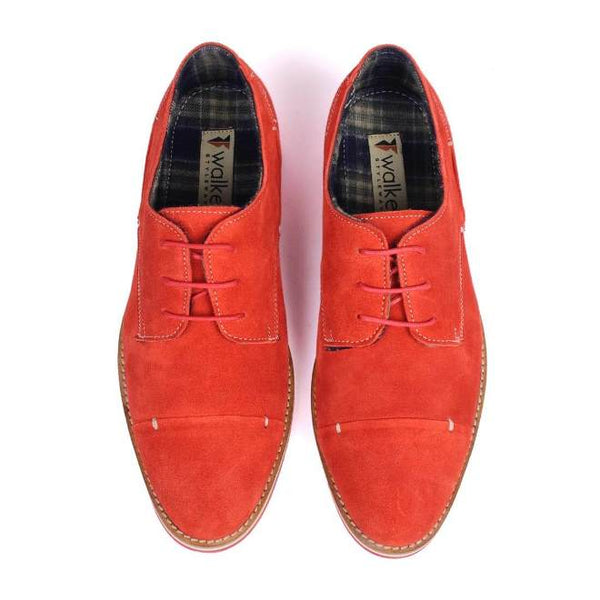 A top view of pair of men's derby casual shoes for broad feet made with red suede leather