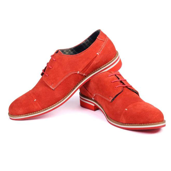 A side view of pair of men's derby casual shoes for broad feet made with red suede leather