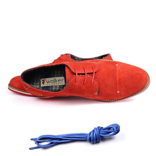 A top view of men's derby casual shoes for broad feet made with red suede leather
