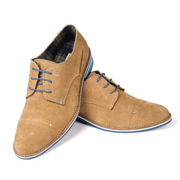 A front view of pair of men's broad feet casual derby shoes made with tan suede leather