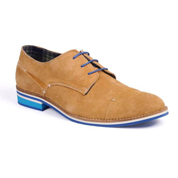 A side view of men's broad feet casual derby shoes made with tan suede leather