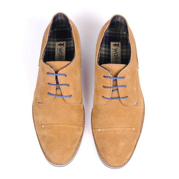 A top view of pair of men's broad feet casual derby shoes made with tan suede leather