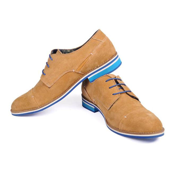 A side view of pair of men's broad feet casual derby shoes made with tan suede leather