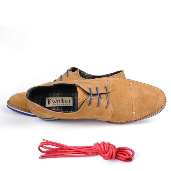 A top view of men's broad feet casual derby shoes made with tan suede leather