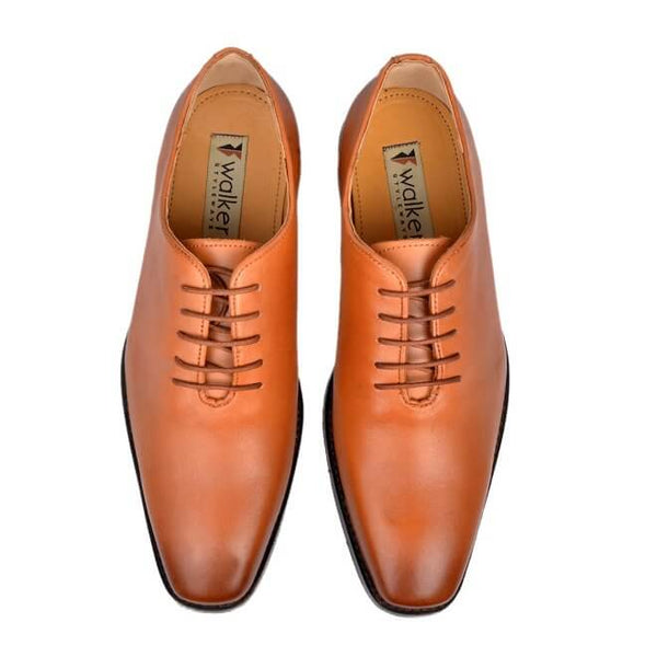 A top view of men's whole cut xxw shoes made with dark tan leather