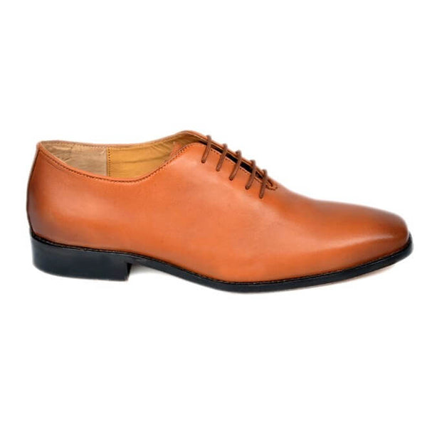 A side view of men's whole cut xxw shoes made with dark tan leather