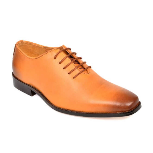 A side view of men's whole cut xxw shoes made with tan leather