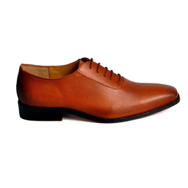 A side view of men's oxford wide width shoes made with dark tan leather