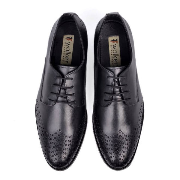 A top view of size 38 men's derby brogue shoes made with black leather