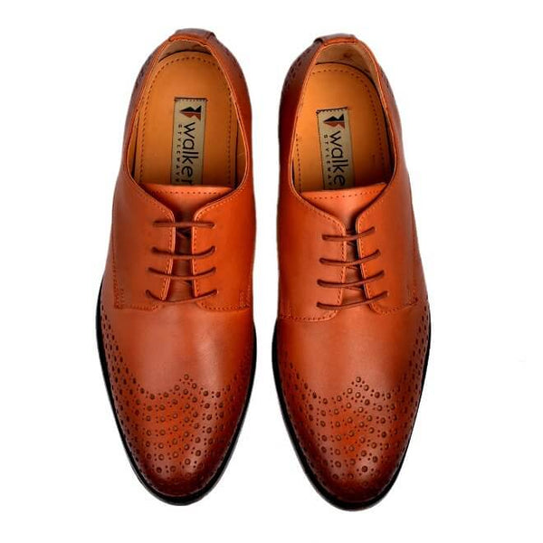 A top view of size 38 men's derby brogue shoes made with cognac leather